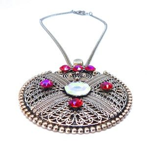 GASOLINE GLAMOUR Jewelry - FIRA OPAL IRON WORK MEDALLION NECKLACE NEW